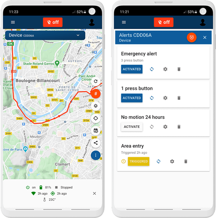 live tracking and alerts via the application