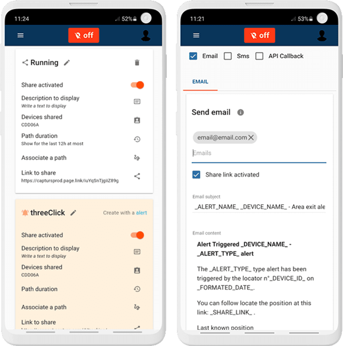 Set up alerts and sharing of the gps tracker from the app