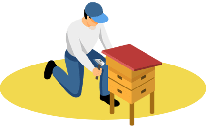 Installation dans les cadres des ruches